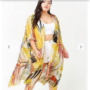 Plus Size Sheer Leaf Print Kimono